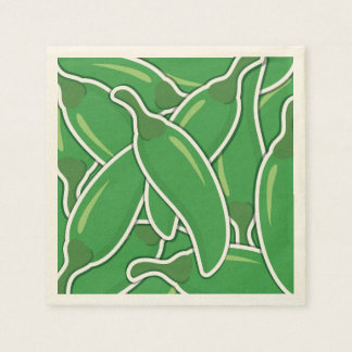 Funky green chilli peppers paper napkin