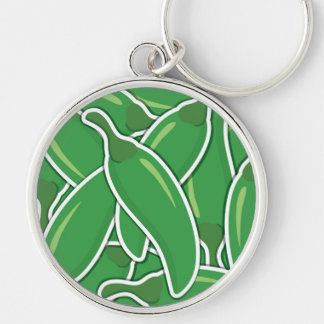Funky green chilli peppers Silver-Colored round keychain
