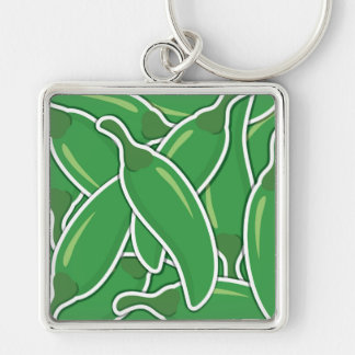 Funky green chilli peppers Silver-Colored square keychain