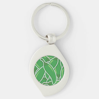 Funky green chilli peppers Silver-Colored swirl keychain