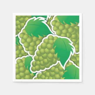 Funky green grapes paper napkins