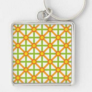 Funky Green & Orange Pattern Keychain