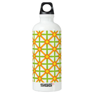 Funky Green & Orange Pattern Water Bottle