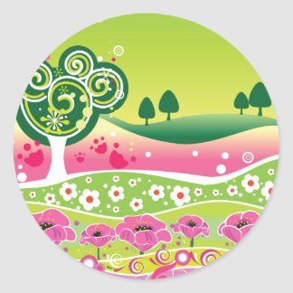 Funky Green Pink Landscape stickers