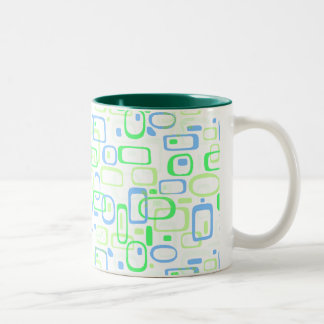 Funky Green Retro Pattern Two-Tone Coffee Mug