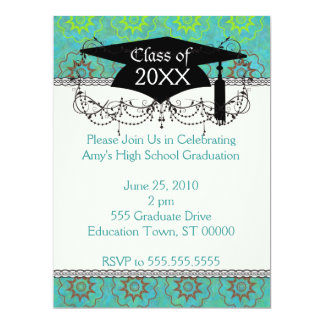 "funky green shabby chic graduation 6.5"" x 8.75"" invitation card"
