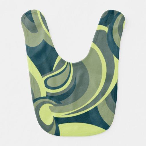 Funky green swirl pattern baby bib