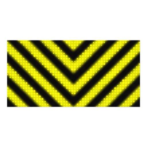 Funky Hazard Stripes Design Picture Card