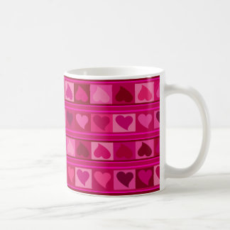 Funky Hearts and Squares Mozaic | fuschia pink Coffee Mug
