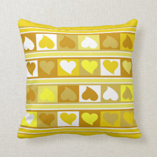 Funky Hearts and Squares | yellow tan white Throw Pillow