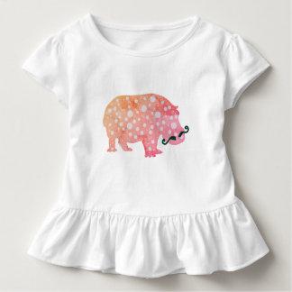 Funky Hippopotamus misterToddler Ruffle Tee, White Toddler T-shirt