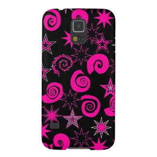 Funky Hot Pink Black Stars Swirls Fun Pattern Gift Galaxy S5 Cover