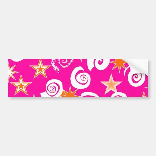 Funky Hot Pink Orange Stars Swirls Fun Pattern Bumper Sticker