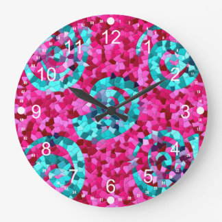 Funky Hot Pink Teal Blue Mosaic Swirls Girly Gifts Large Clock