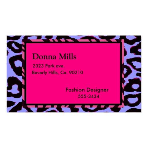Funky Hot Pink Zebra Cheetah Business Card Template