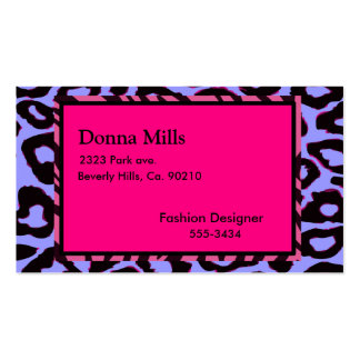 Funky Hot Pink Zebra Cheetah Set Business Card Template