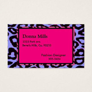 Funky Hot Pink Zebra Cheetah Set Business Card