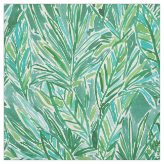 FUNKY JUNGLE Wild Green Tropical Leaf Pattern Fabric
