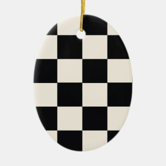 Funky Khaki Black Blocks Ceramic Ornament