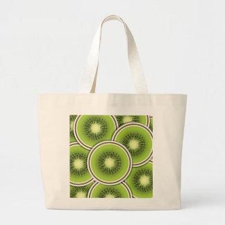Funky kiwi fruit slices large tote bag