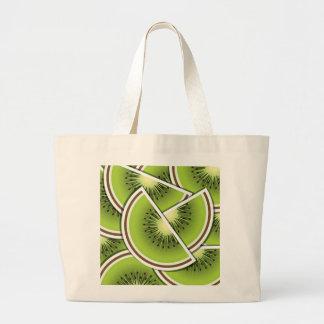 Funky kiwi fruit wedges large tote bag
