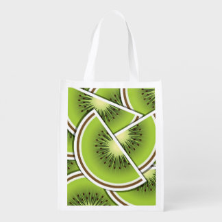 Funky kiwi fruit wedges reusable grocery bags