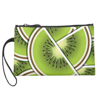 Funky kiwi fruit wedges wristlet clutch