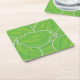 Funky lettuce square paper coaster