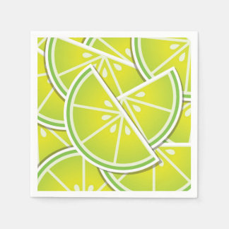 Funky lime wedges paper napkins