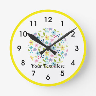 Funky Little Flowers Round Clock