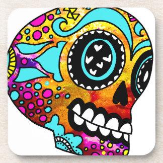 Funky Little Sugar Skulls by OneCuriousHuman Beverage Coaster