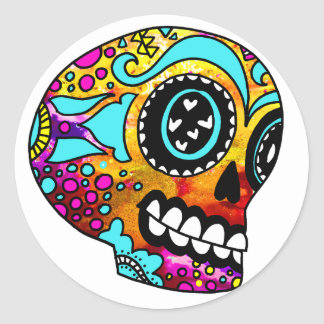 Funky Little Sugar Skulls by OneCuriousHuman Classic Round Sticker