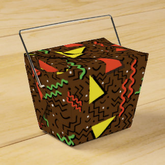 Funky Loud Brown Memphis Design Party Favor Box