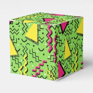 Funky Loud Green Memphis Design Wedding Favor Box