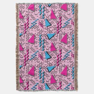 Funky Loud Pink Memphis Design Throw Blanket