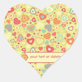 Funky Love small heart pattern. Heart Sticker