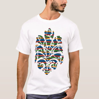 funky medallion scroll stripe stamp T-Shirt