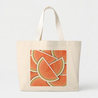Funky melon wedges large tote bag