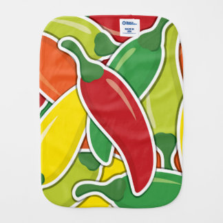 Funky mixed chilli peppers baby burp cloths