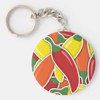 Funky mixed chilli peppers basic round button keychain