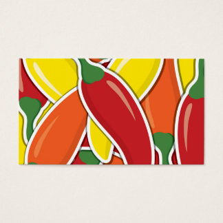 Funky mixed chilli peppers business card