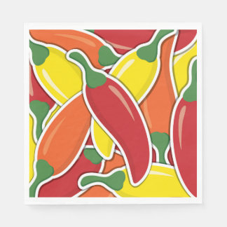 Funky mixed chilli peppers disposable napkins