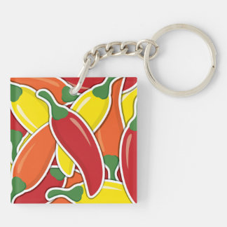 Funky mixed chilli peppers Double-Sided square acrylic keychain