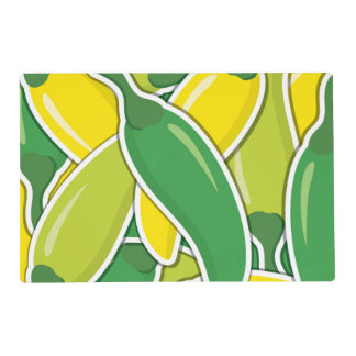 Funky mixed chilli peppers laminated place mat