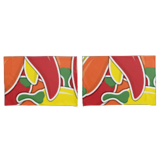 Funky mixed chilli peppers pillowcase
