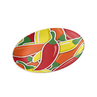 Funky mixed chilli peppers porcelain plates
