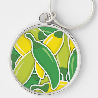 Funky mixed chilli peppers Silver-Colored round keychain
