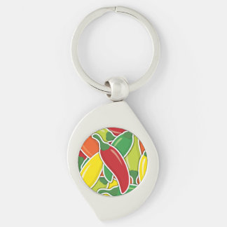 Funky mixed chilli peppers Silver-Colored swirl keychain