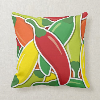 Funky mixed chilli peppers throw pillow