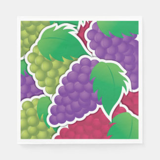 Funky mixed grapes disposable napkins